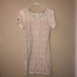 Cream Dress with Tan Underlay